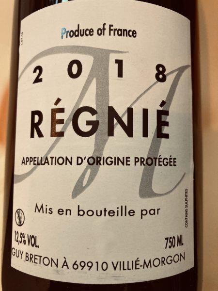 GUY BRETON - Régnié 2018